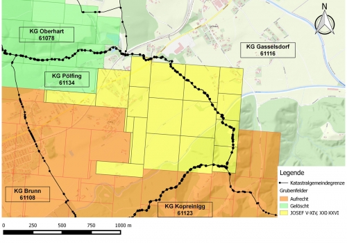 Löschung von Bergbauberechtigungen in St. Martin im Sulmtal und Pölfing-Brunn